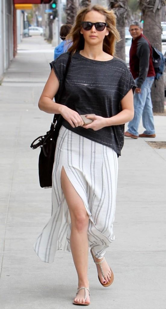 Jennifer Lawrence shows some leg in Santa Monica